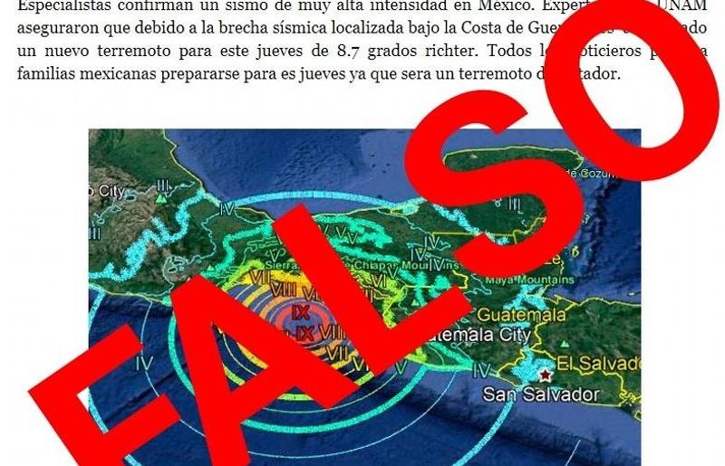 ¿Se aproxima terremoto de 8.7? Que no te agarren de bajada ¡se trata de una #FakeNews! #FOTO