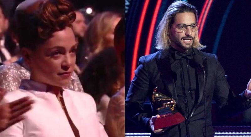 La polémica reacción de Natalia Lafourcade luego de que Maluma ganara el Grammy #VIDEO