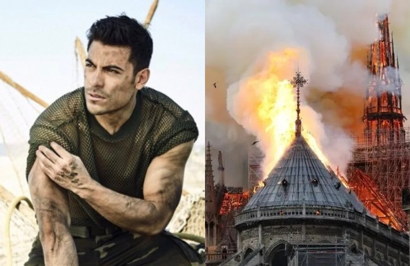 Carlos Rivera y artistas se encuentran devastados con el incendio de Notre Dame #FOTOS