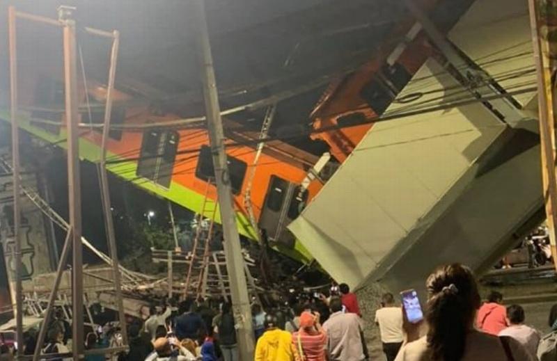 Impactante video del metro que se desplomó en CDMX