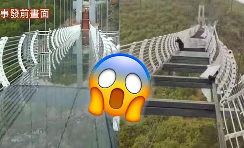 ¡Ay nanita! Se rompe puente de vidrio y turista queda colgando a 100 metros de altura (+foto)