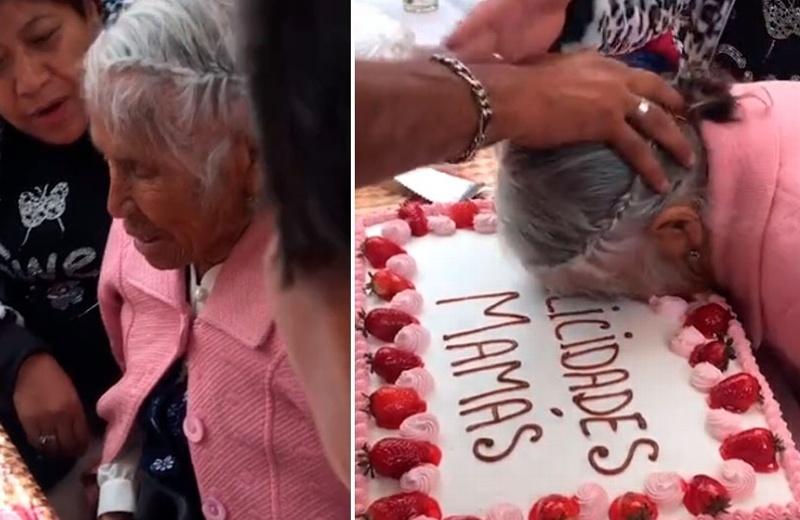En el Día de las Madres, casi se la parten a la abuelita con tremendo pastelazo (+video)